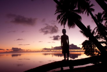 Sunset at Pakin Atoll, Pohnpei State, Federated States of Micronesia.