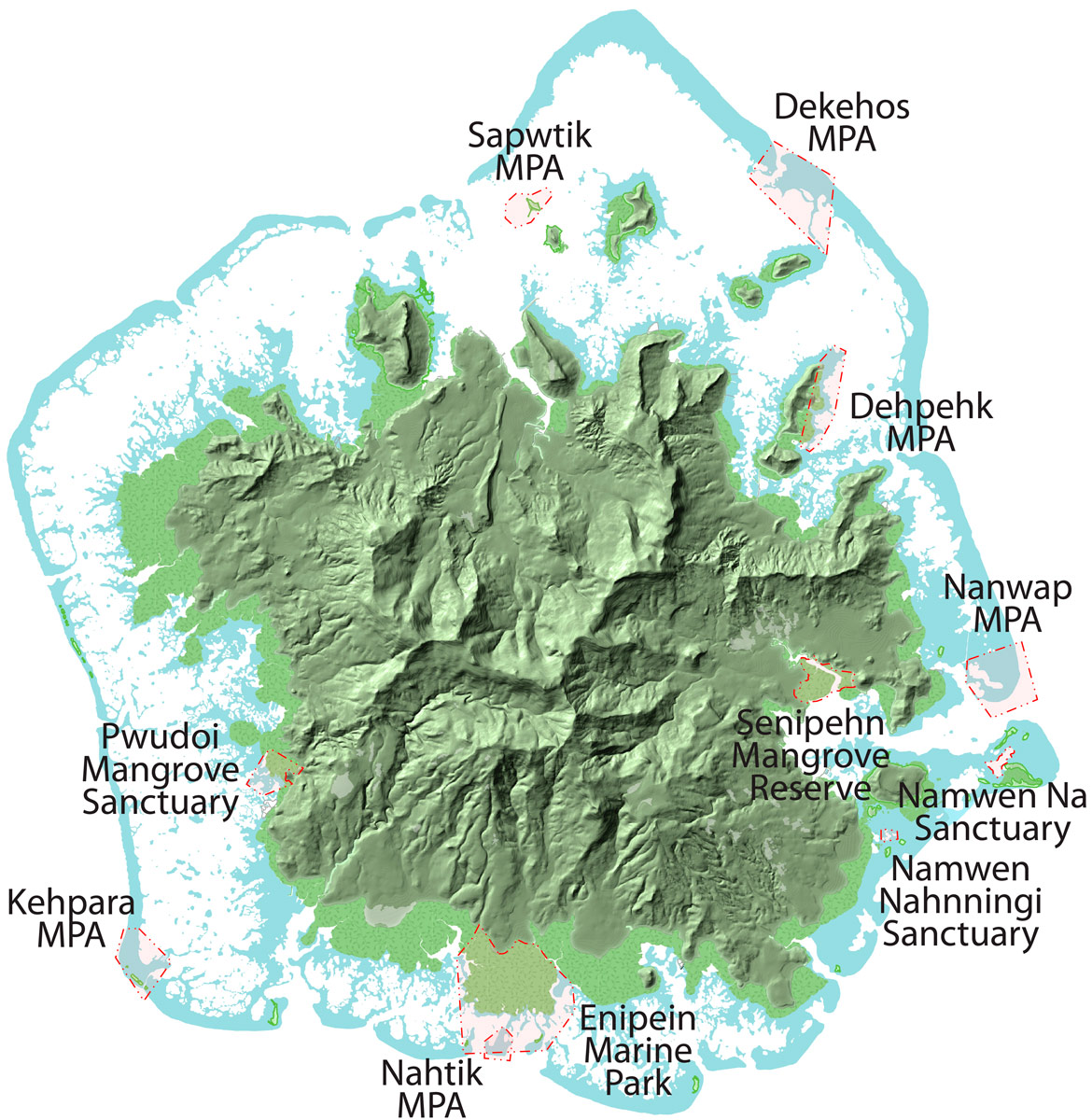 Pohnpei Protected Areas Map
