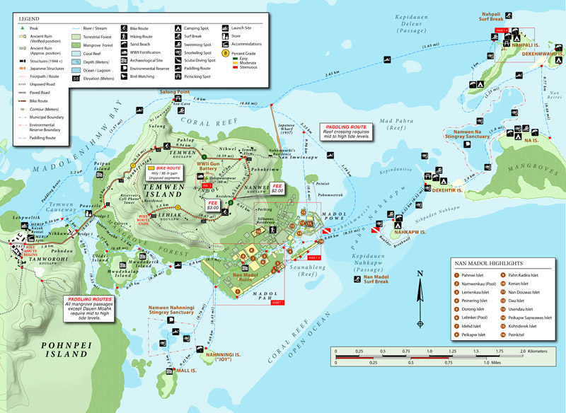 Temwen Island Vicinity Eco-Adventure Map