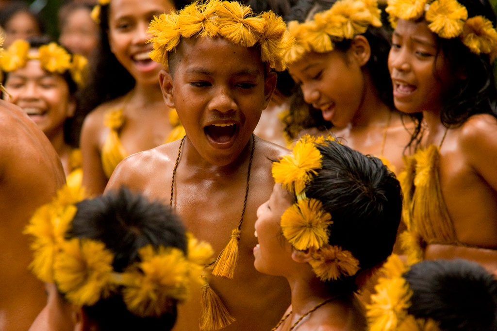 Traditional children's dance, Pohnpei, Federated States of Micronesia (FSM)