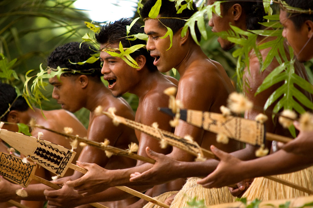 Traditional paddle dance, Pohnpei, Federated States of Micronesia (FSM)